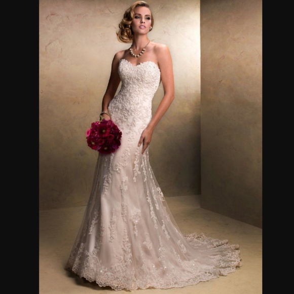 702be1e75d Maggie Sottero Dresses   Skirts - Maggie Sottero Fit Flare Ivory Wedding  Dress Gown
